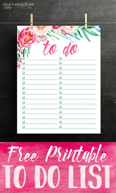Free Printable Watercolor To Do List | Beautiful list for organizing all of your tasks. Downloads instantly. Print as many as you like.