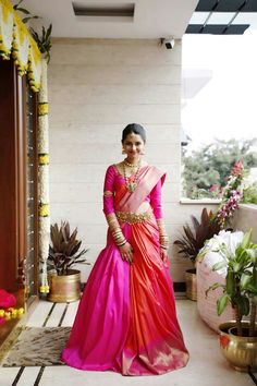 23 Elegant Saree Lehenga Designs For The South Indian Brides! Indian Engagement Outfit, Engagement Dress For Bride, Indian Wedding Outfits, Engagement Saree, Engagement Outfits, Lehenga Saree Design, Half Saree Lehenga, Lehenga Designs, Anarkali