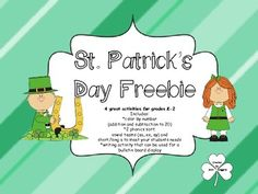 St. Patrick's Day Freebie Pack   4 great activities for grades K-2  Includes:  *color by number  (addition and subtraction to 20)  *2 phonics sort;  vowel teams (ea, ee, ey) and  short/long e to meet your students needs  *writing activity that can be used for a bulletin board display