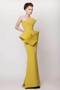 Azzi & Osta Couture SS 2015, Mustard Sculptural Long Silk Crepe Dress