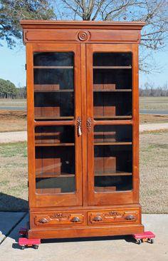 TALL~ Victorian Walnut Stepback Bookcase w Carved Pulls Orig. Glass & Key c1875  #Victorian