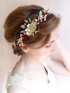 burgundy and gold bridal hair piece / http://www.deerpearlflowers.com/burgundy-and-gold-wedding-ideas/