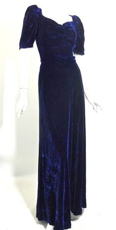 1930s Cobalt Velvet  ღ♥Please feel free to repin ♥ღ www.fashionandclothingblog.com