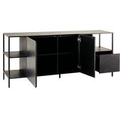 Buffet 2 portes 1 tiroir en métal noir | Maisons du Monde