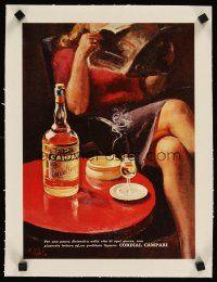 3k202 CORDIAL CAMPARI linen 11x15 Italian advertising poster '60s great liquor artwork by A. Mello!