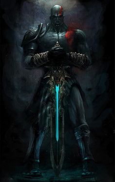 Kratos - god of War and Death; overthrew both Ares and Thanatos, gods of War and Death. Kratos God Of War, Gods Of War, Dark Fantasy, Fantasy Art, God Of War Series, Gaming Wallpapers, Fan Art, Greek Gods, Video Game Art