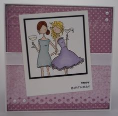 Pink and girly card using Stamping Bella image cropped to resemble a polaroid...sort of!
