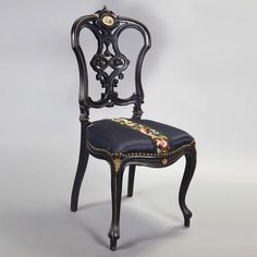 Victorian Gilt-Metal and Porcelain Mounted Ebonized Parlor Chair   Circa 1860