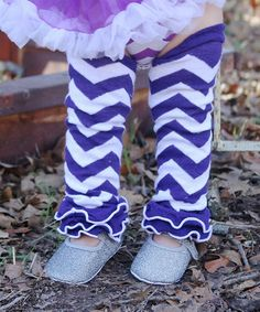 Another great find on #zulily! Purple & White Zigzag Ruffle Leg Warmers by Under The Hooded Towels #zulilyfinds