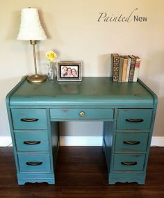 Painted New: Art Deco Waterfall Desk