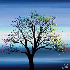 Small tree ''Two'' - 30 X 30 cm - Grafisk kunst på lærred af Søren Grooss
