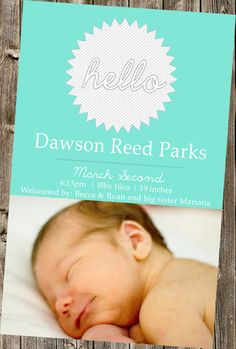 Baby announcement Hello  by DesignsByKepi on Etsy