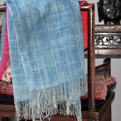 This vintage African indigo textile was hand-dyed and hand-woven in very long strips then hand sewn together to make this throw. Beautiful varying shades of faded indigo. They make great throws, blankets, tablecloths and wraps. #indigo #textile