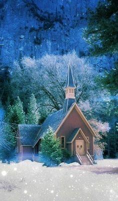 little mountain church in snow