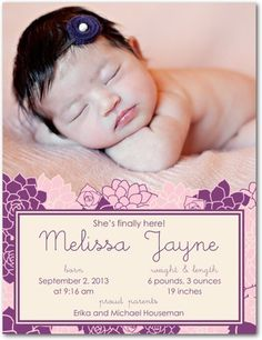 Girl Photo Birth Announcements Drifting Blooms - Front : Eggplant