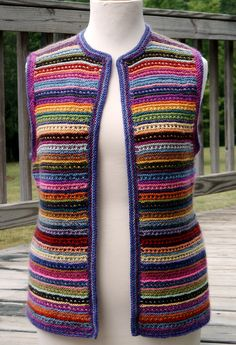 Combine different weights to achieve gauge, using your own stash. Use a simple slip stitch to make this vest from leftover yarns Crochet Coaster Pattern, Crochet Cardigan Pattern, Knit Crochet, Sweater Knitting Patterns, Knitting Designs, Knitted Afghans, Crochet Fashion, Crochet Clothes, Weights