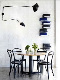 Source: The Design Files Love the Serge Mouille wall lights! Dining Room Inspiration, Interior Inspiration, Interior Lighting, Home Lighting, Unique Lighting, Estilo Interior, The Design Files, Cafe Tables, Beautiful Interiors