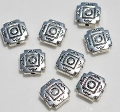 Silver Plated Flat Square Beads.  9.5 mm 8 Beads per package  SHIPPING: I do combine shipping at a flat rate in the United States, regardless on