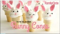 We made the bunnies on cupcakes. Watch: How To Make Bunny Cones! Desserts Diy, Easter Desserts, Easter Treats, Easter Recipes, Easter Peeps, Easter Food, Hoppy Easter, Easter Party, Cone Cupcakes