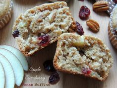These healthier, not over sweet Apple Cranberry Pecan Muffins make a great on the go breakfast or snack this Fall!