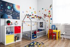 Space theme child room, Toddler bed, Baby bed, Children bed, Montessori toy, wooden house, Nursery interior crib, Toddler bedroom design, Girl room, Boy room
