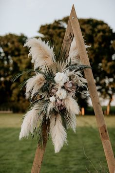 Wooden Frame with Muted Flowers, Foliage and Dried Grasses Eco Friendly Wedding Inspiration at Wickerwood Farm with Woodland Boho Luxe Theme with Pampas Grass, Macrame, and Smoke Bombs by Elena Popa Photography Wedding Blog, Fall Wedding, Rustic Wedding, Dream Wedding, Wedding Ideas, Floral Wedding, Wedding Bouquets, Wedding Flowers, Dried Flower Arrangements