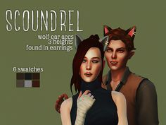 wolf (or cat?) ear Sims 4 by drosims some wolf (or cat?) ear accessories for your little lycans, hybrids, or whatever you want since EA is bunch of cowards for not giving us werewolves yet Sims 4 Cas, Sims 1, Werewolf Ears, Sims 4 Couple Poses, Black Bratz Doll, Sims 4 Anime, Sims 4 Characters, Sims Four, Sims 4 Cc Finds