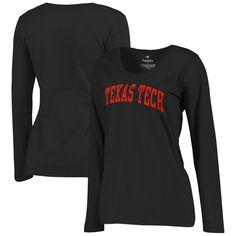 Texas Tech Red Raiders Women's Basic Arch Long Sleeve T-Shirt - Black
