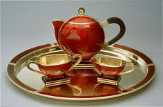 Tea set, by David Andersen, Oslo, Norway, ca. 1930s Gift to President Roosevelt from Olav and Märtha, the Crown Prince and Princess of Norway Gold, enamel, tea pot: 5 3/8 x 6 3/4 x 3 inches sugar bowl: 1 7/8 x 4 13/16 x 2 1/4 inches creamer: 1 5/8 x 3 7/8 x 1 15/16 inches tray: 3 1/4 x 13 1/16 inches