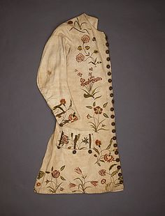 England  Man's Waistcoat, circa 1720-1735  Costume/clothing principle attire/upper body, Linen with silk embroidery, silk twill lining, Center back length: 36 in. (91.44 cm)  Costume Council Fund (M.63.54.2)  Costume and Textiles Department.