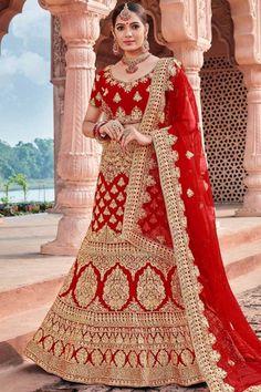 Red velvet semi stitch lehenga with velvet choli. This lehenga choli is embellished with zari, stone, sequins and dori work. It is perfect for Bridal Wear. Lehenga Dupatta, Lehenga Choli Online, Bridal Lehenga Choli, Indian Sarees Online, Rohit Bal, Choli Dress, Indian Skirt, Choli Designs, Traditional Sarees