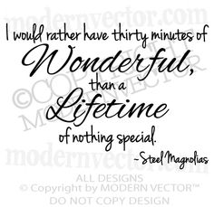 Steel Magnolias - Movie Quotes ~ 'Thirty Minutes of Wonderful' ~ Tv Quotes, Great Quotes, Quotes To Live By, Life Quotes, Inspirational Quotes, Fantastic Quotes, Song Quotes, Funny Quotes, Infp