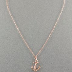 Gold Coloured Rhinestone Anchor Necklace