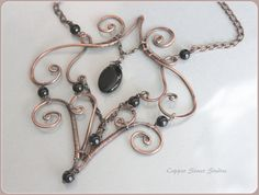 Copper Wire Wrapped Necklace Black Onyx Stone Beads, Wire Art Necklace Handmade, Unique Necklace for Women, Copper Wire Jewelry, Free form