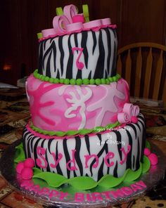 """Zebra/Pink Camo Topsy Turvy - 6"""", 8"""", & 10"""" chocolate cake iced in fondant with hand made fondant decorations. The topper is a giant quilling flower. TFL!"""