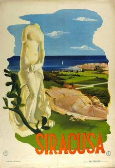 1935c Syracuse, Sicily -- ART & ARTISTS: Vintage Travel Posters - part 3
