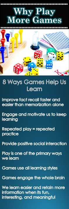 8 ways playing games can help us learn more.  Games are one of the most effective ways to review information on any subject.  Make it fun and improve your memory for reading, spelling, math, science, history, science, phonics, foreign language, vocabulary, ...........  See Tammy's Toolbox for ideas and games for all subjects.