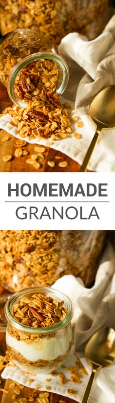Homemade Granola Recipe -- this amazingly easy granola recipe boasts just 5 simple ingredients, each carefully chosen for maximum flavor and texture. So buttery, crunchy and utterly delicious, you won't be able to keep your hands off of it! | via @unsophi