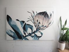 Buy online a limited edition canvas print of an original Anya Brock painting. Comes with a signed and numbered Certificate of Authenticity. A great alternative Protea Art, Plant Painting, Painting Flowers, Canvas Prints, Art Prints, Painted Paper, Pictures To Paint, Print Patterns, Moose Art