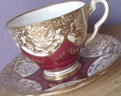 Antique Aynsley tea cup set vintage 1959 Queen by ShoponSherman