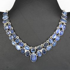 Beautiful Kynite Gemstones 925 Sterling Silver Necklace For Womens On Upcoming Occasions by JaipurSilverIndia on Etsy