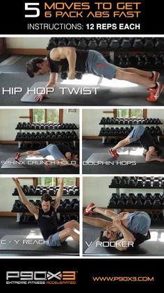 Want 6 pack abs FAST? Well here are 5 great moves, 12 reps each for you boys and girls (AND a bonus one)!