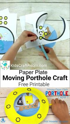 PAPER PLATE PORTHOLE CRAFT - a fantastic ocean craft for kids that love pirates and mermaids. This interactive moving paper plate craft is so fun! Wiggle the handle to make the ocean scene bob up and down like real waves through the porthole! An exciting Summer craft for kids. (Free black & white and full colour printables.) #kidscraftroom #kidscrafts #oceancrafts #beachcrafts #paperplatecrafts #printablecrafts #piratecrafts #mermaidcrafts #pirates #mermaids #summercrafts Paper Plate Art, Paper Plate Crafts For Kids, Summer Crafts For Kids, Paper Plates, Art For Kids, Paper Crafts, Craft Kids, Kids Crafts, Writing Prompts For Kids