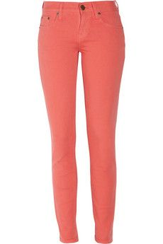 Coral skinny jeans by J.Crew