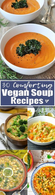 These 30 vegan soup recipes are perfect when you feel like having a warm, hearty, and comforting soup! They're all plant-based, healthy, and really easy to make. Find more vegan recipes at veganheaven.org <3