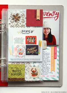 December Daily 2014 // Part V The page protector on the right was originally this one by Simple Stories, which had a 4x6 slot in the middle and six 2x2 slots.