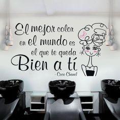 Entra en ➡️ www.viniloscasa.com   #vinilosdecorativos #pegatinas #adhesivos #viniloscasa #vinilosbaratos #wallart #walldecor #wall #stickers #deco #decoracion #decoration #decorideas #decoração #decorate #frases #cocochanel Nail Salon Decor, Beauty Salon Decor, Home Hair Salons, Chanel Quotes, Nail Room, Playing With Hair, Beauty Studio, Hair Studio, Nail Spa