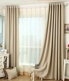 Light beige blackout curtain / insulation curtain by Tailor2U