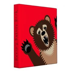 Funny Bear Boy's Nature Notebook Binder - home gifts ideas decor special unique custom individual customized individualized
