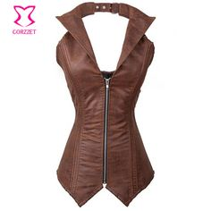 Gótico roupas zíper frontal Brown Faux Leather Steampunk espartilho de aço do osso Burlesque Bustiers and Corsets Corpete Corselet mulheres >>> Continue to the product at the image link.